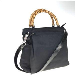 GUCCI nylon handbag bamboo handle 002-2122